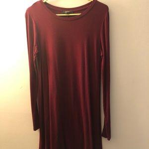 Forever 21 Maroon along-Sleeved Dress (M)